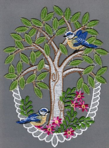 Embroidered Lace Tree with Blue Birds Window Picture
